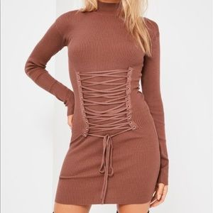 Missguided Brown Corset Lace Up Mini Dress